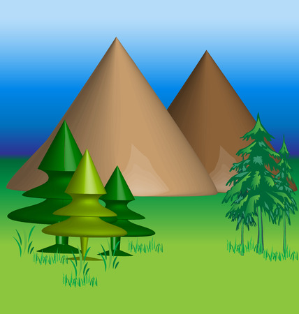 Mountains 3 D vector background Illustration