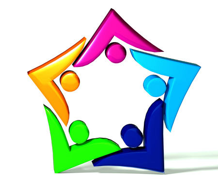 swooshes: Teamwork colorful swooshes star 3d shape