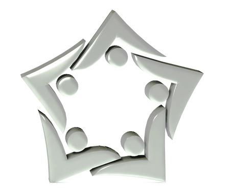 swooshes: Teamwork swooshes star 3d shape