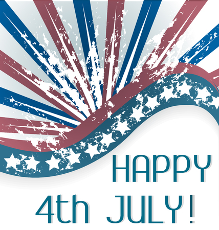 flag template:  Happy 4th July Flag template Illustration
