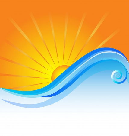 sunny beach: Sun beach template icon background vector Illustration