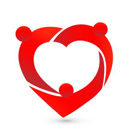 demonstrative: Teamwork people heart icon Illustration