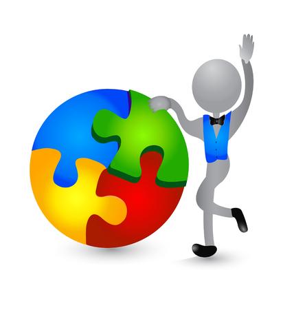 3D person figure solving puzzle vector icon