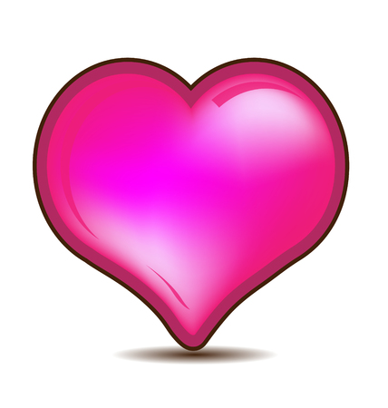 Glossy pink Valentines heart gift vector icon Vectores