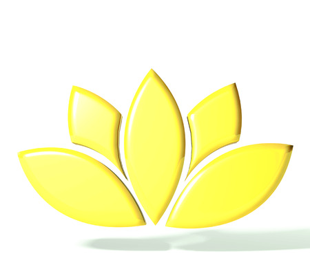 Gold lotus flower 3D image Stock Photo - 25327108