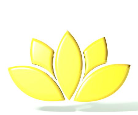 flores retro: Imagen de la flor de loto de oro 3D