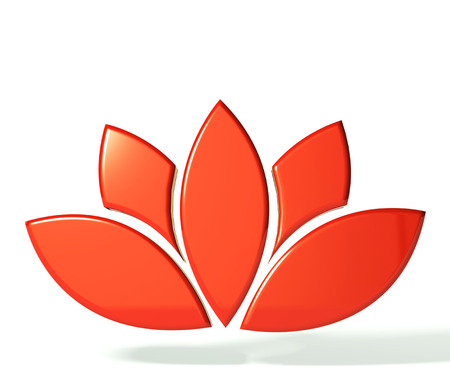 Red lotus flower 3D image photo