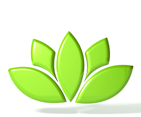 Green lotus flower 3D image photo