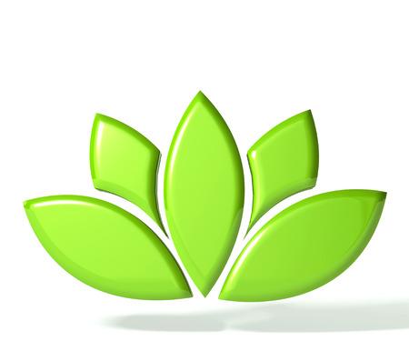 Green lotus flower 3D image Banco de Imagens