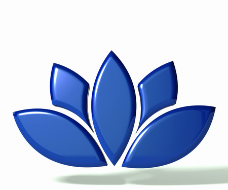 Blue lotus flower 3D image photo