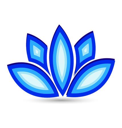 flores retro: Loto azul icono de la flor del vector