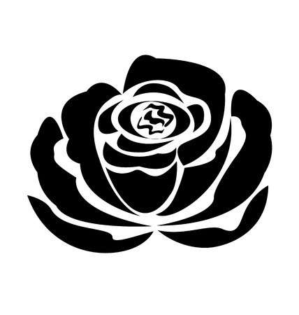 hearts and roses: Vector black rose silhouette