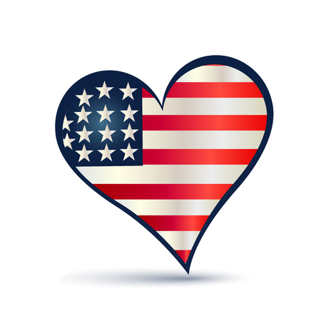 Heart USA flag vector icon Vector