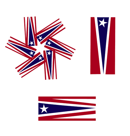 Vector Set of American flags icons Vector