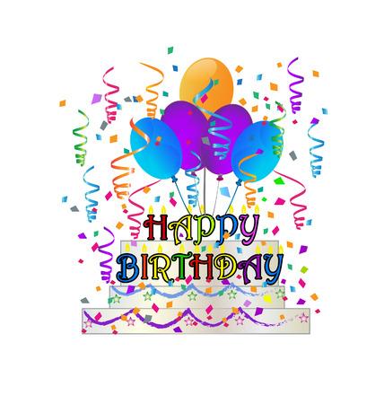 Happy Birthday cake with confetti vector