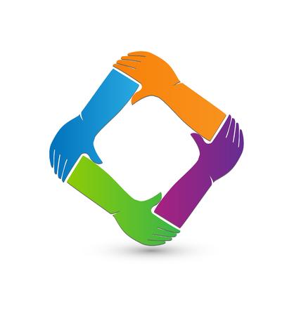 teamwork icon: Hands symbol teamwork icon vector