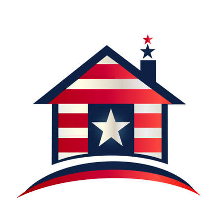 stock clip art icon: Patriotic house illustration vector