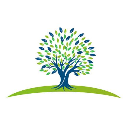 процветание: Вектор Дерево с синий дизайн зеленые листья значок