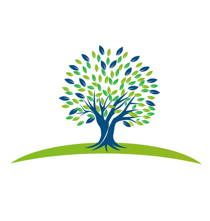 Vector Tree with blue green leafs icon design