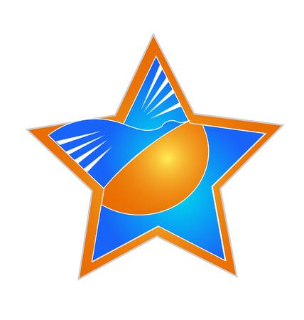 Star with sun beach and bird icon vector design Vector