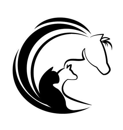 Gato caballo y el perro siluetas vector icon