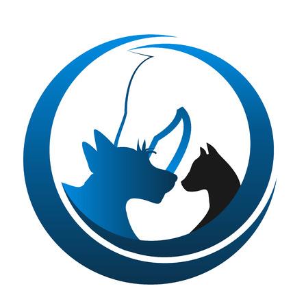 siluetas de animales: Gato y perro icono de caballo de la silueta del vector