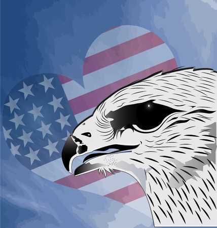 Eagle and flag heart background vector Vector