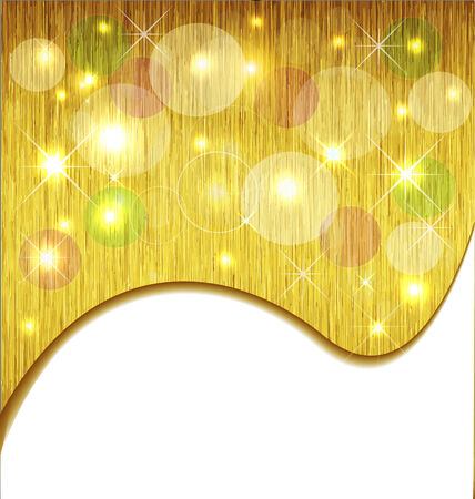 Golden Xmas background with stars and bubbles Vector