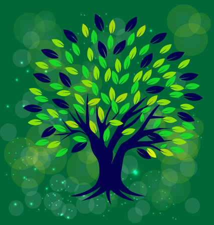 Tree with green background vector image Vector