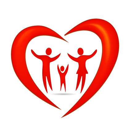 Family heart symbol vector Vector