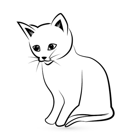 lines: Cat silhouette icon vector