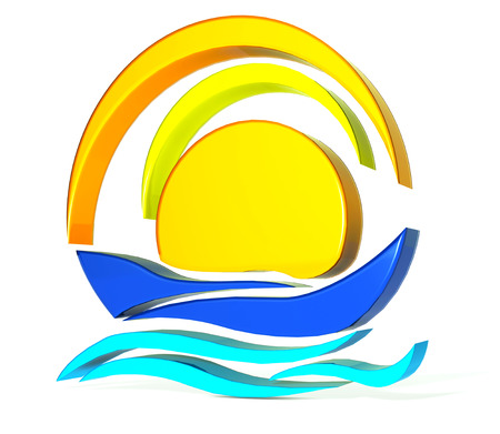 Boat sun icon 3D image photo