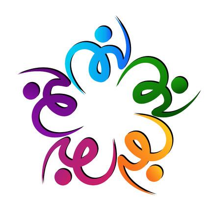 gönüllü: Takım renkli swooshes çiçek şekli vektör