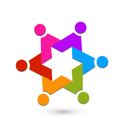 together voluntary: Teamwork star icon vector Illustration