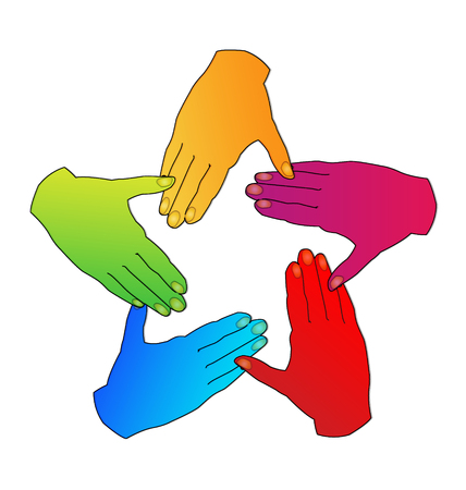 Hands doing star shape Stock Vector - 26040473