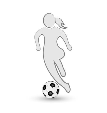 Girl and soccer ball icon vector