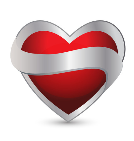 Heart with ribbon icon vector Vector