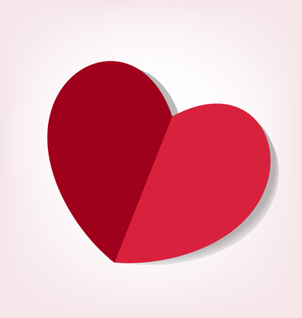 Heart fold paper icon vector Vector