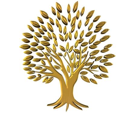 ゴールド ツリー繁栄のシンボルの 3 D イメージ
