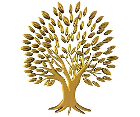 Gold tree prosperity symbol 3D image