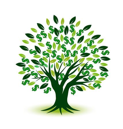 錢: 金錢樹的象徵 向量圖像
