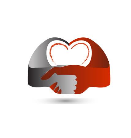 Handshake heart symbol icon Ilustração