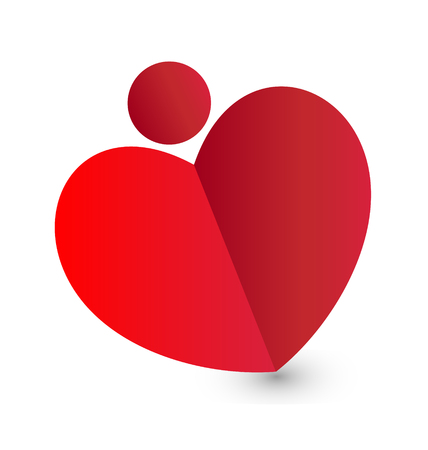 Heart fold paper icon Vector