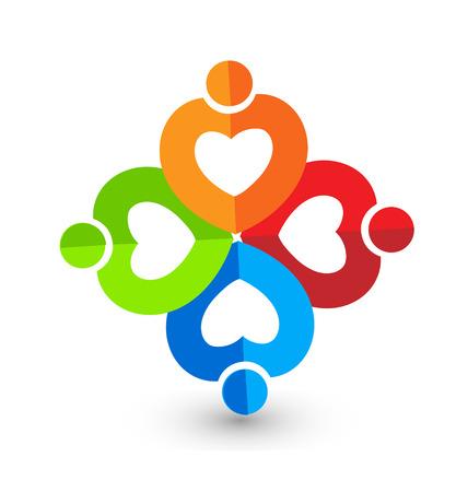Heart paper teamwork Vector