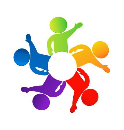 identidad cultural: La gente feliz alrededor del icono del círculo