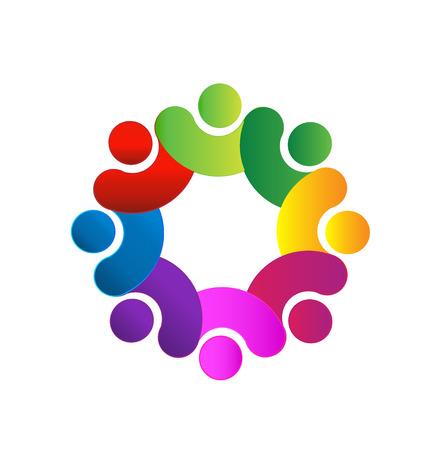 identidad cultural: La gente del trabajo en equipo de la mano icono