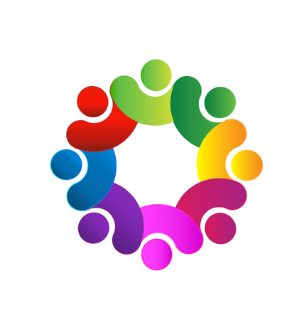 together voluntary: Teamwork people holding hands icon Illustration