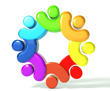 together voluntary: Teamwork union people 3d rainbow Stock Photo