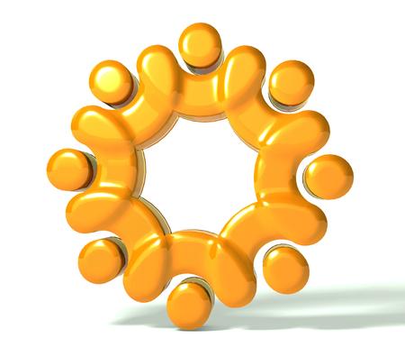Teamwork union people 3d gold Imagens
