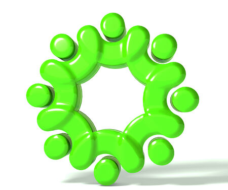 together voluntary: Teamwork union people 3d green